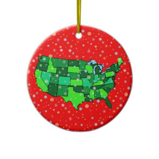 Cheerful Pastel Snowflakes And United States Map Ceramic