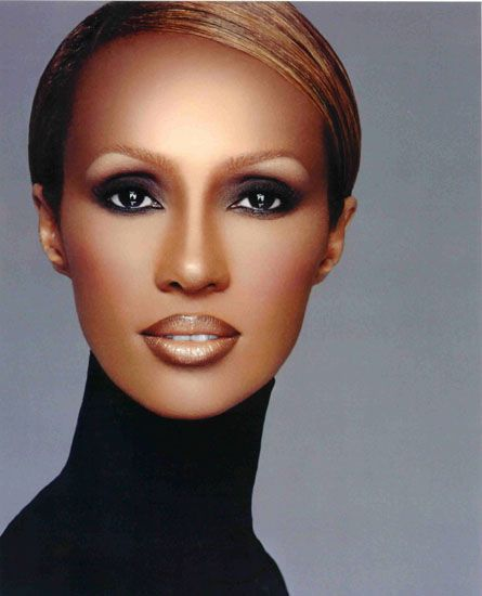 Iman (born Iman Mohamed Abdulmajid), Somali supermodel, actress & entrepreneur. She became a muse for many prominent designers, including Halston, Gianni Versace, Calvin Klein, Issey Miyake, Donna Karan, and, in particular, Yves Saint-Laurent.