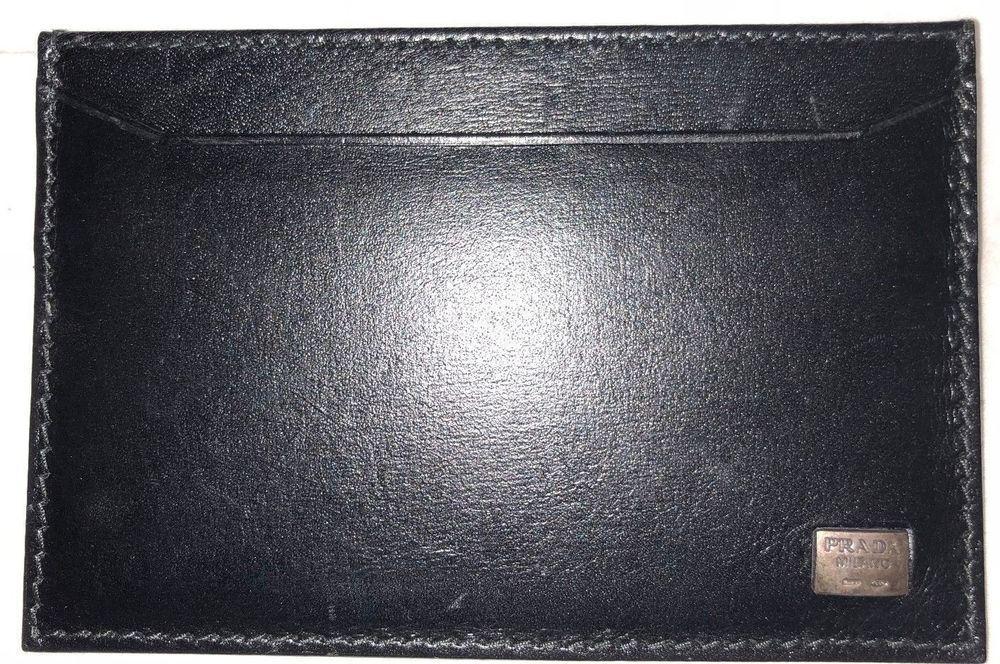 Mens prada black leather credit card case holder wallet