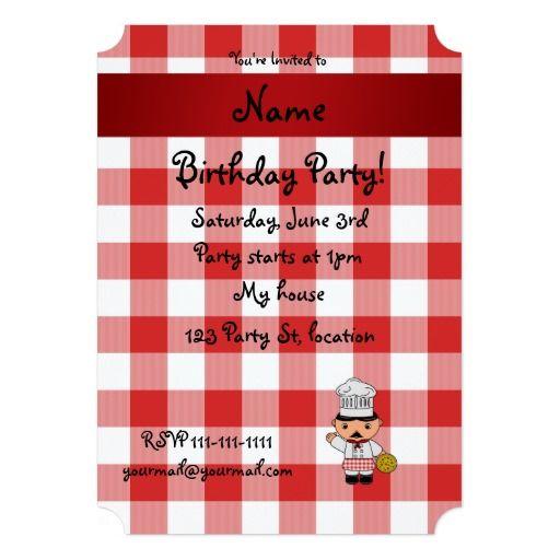 Personalized name italian chef red white checkers card