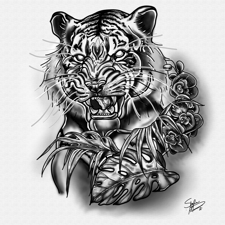 A4 tiger head drawing fine art digital illustration print