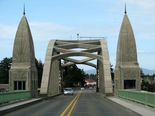 Highway 101, Oregon coast bridge Florence Oregon--Crosses the Siuslaw River