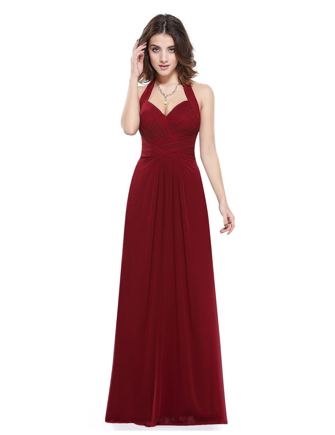 Langes Ballkleid mit Neckholder in Bordeaux Rot  Abendkleid