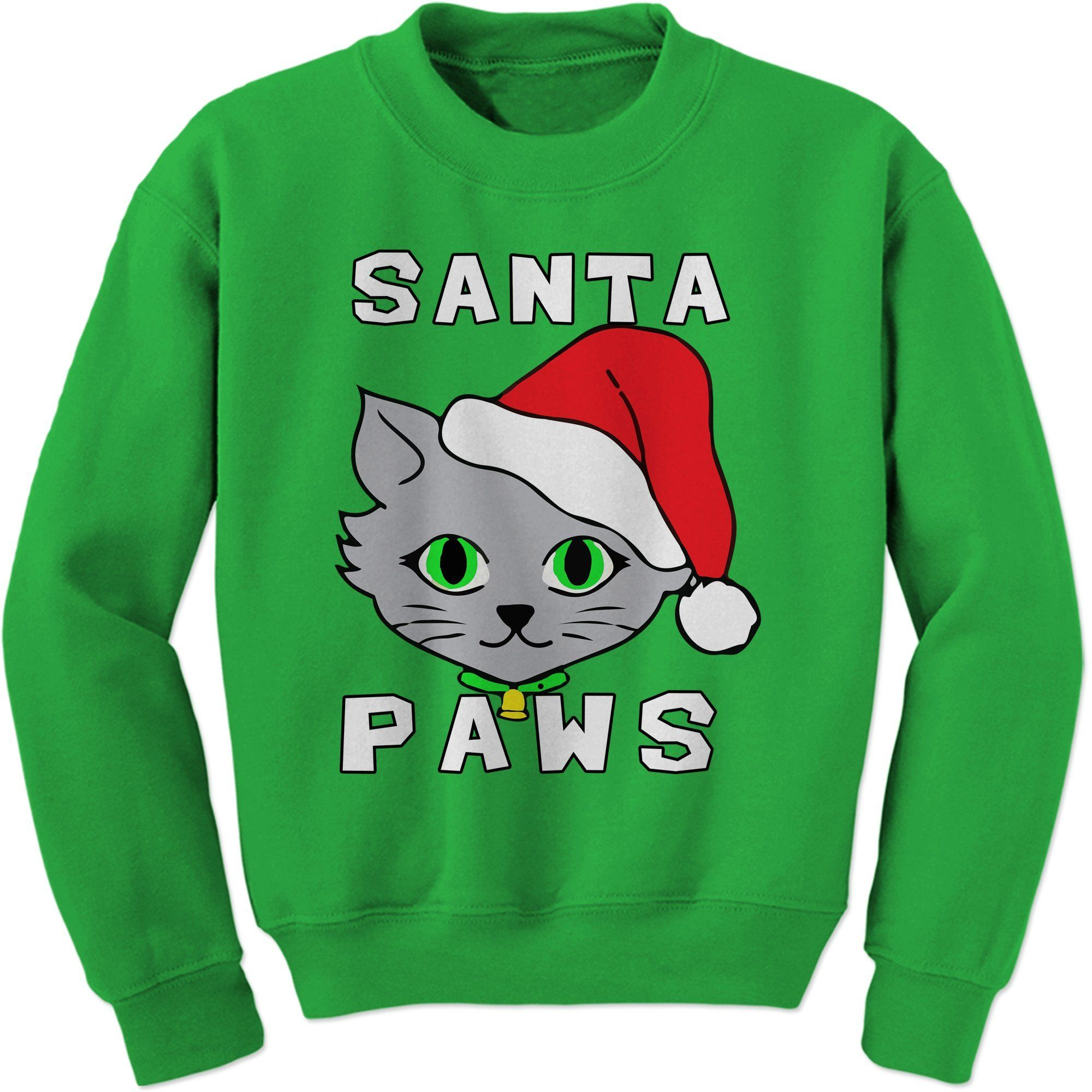 Santa Paws Cat Kitten Ugly Christmas Adult Crewneck Sweatshirt ...