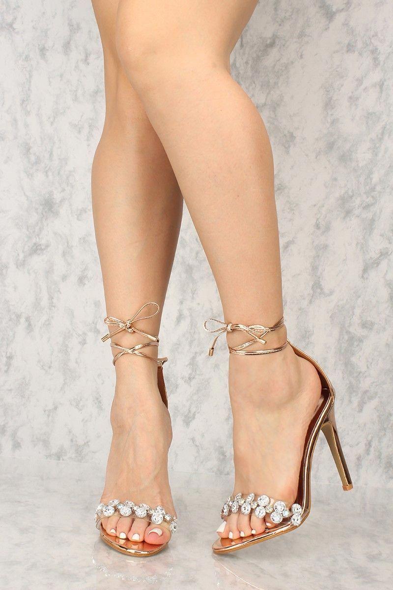 55d7a03dcdc Sexy Rose Gold Chrome Open Toe Gemstone Single Sole High Heels Faux Leather   StilettoHeels