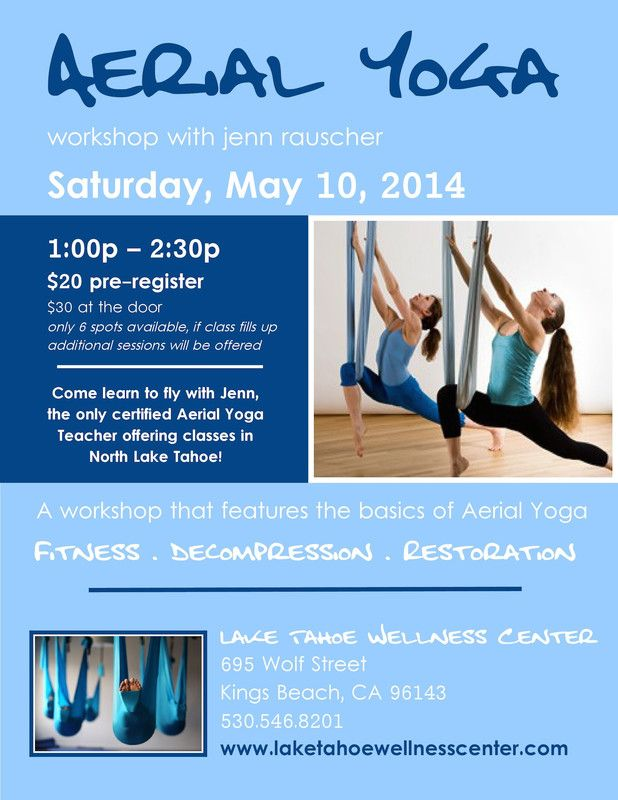 Kings Beach, CA A workshop in the basics of Aerial Yoga Fitness - yoga flyer