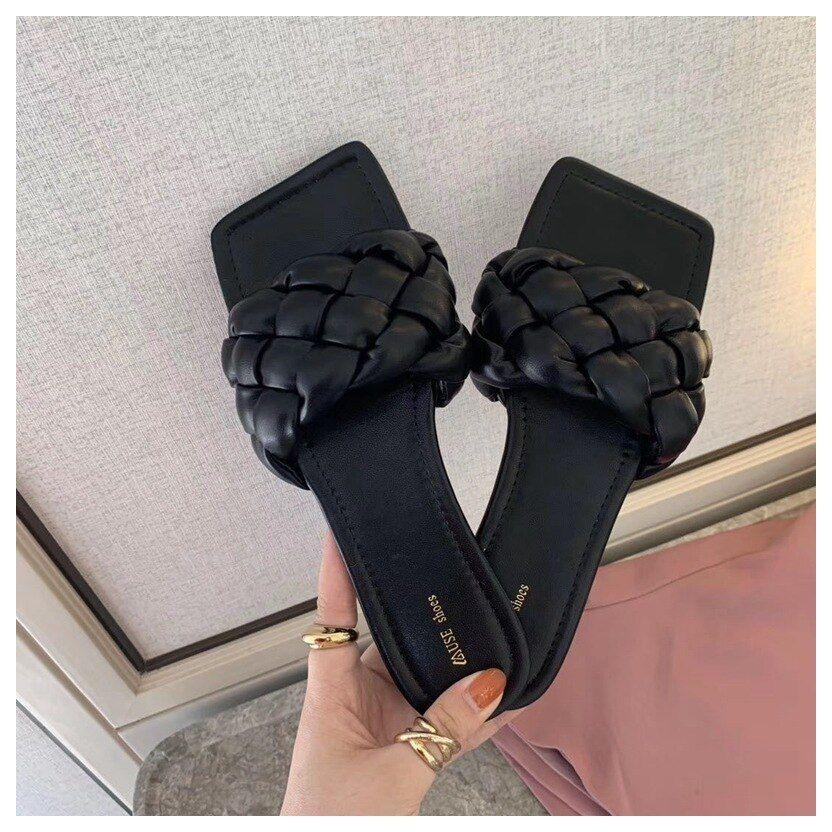 Neue Mode Weben Hausschuhe Frauen Karree Flache Beiläufige Schuhe Frauen Rutsche 2021 Sommer Flip-Flops Strand Sandale Slipper Big size41 – black,9