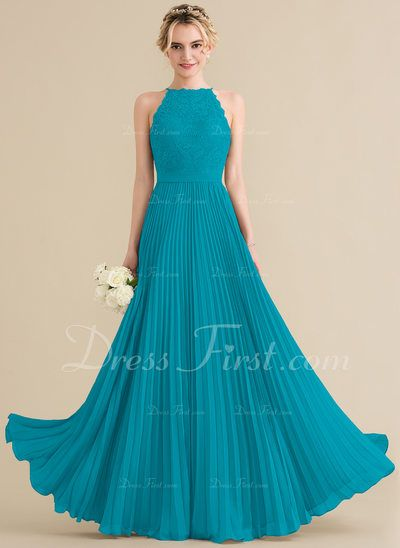 481ae1b2fa A-Line Princess Scoop Neck Floor-Length Chiffon Lace Bridesmaid Dress With  Pleated (007144770) - DressFirst