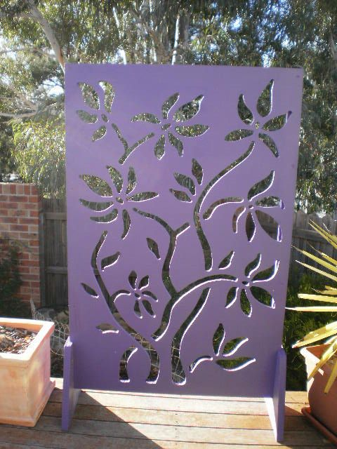 Martin Lascelles Designs   Journal   Plywood Garden Screen   Flowers  (painted Purple)