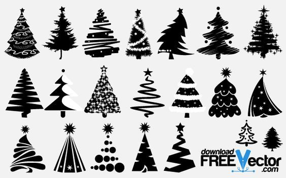 Free Vector Christmas Tree Silhouettes Christmas Tree Drawing Christmas Tree Images Silhouette Christmas