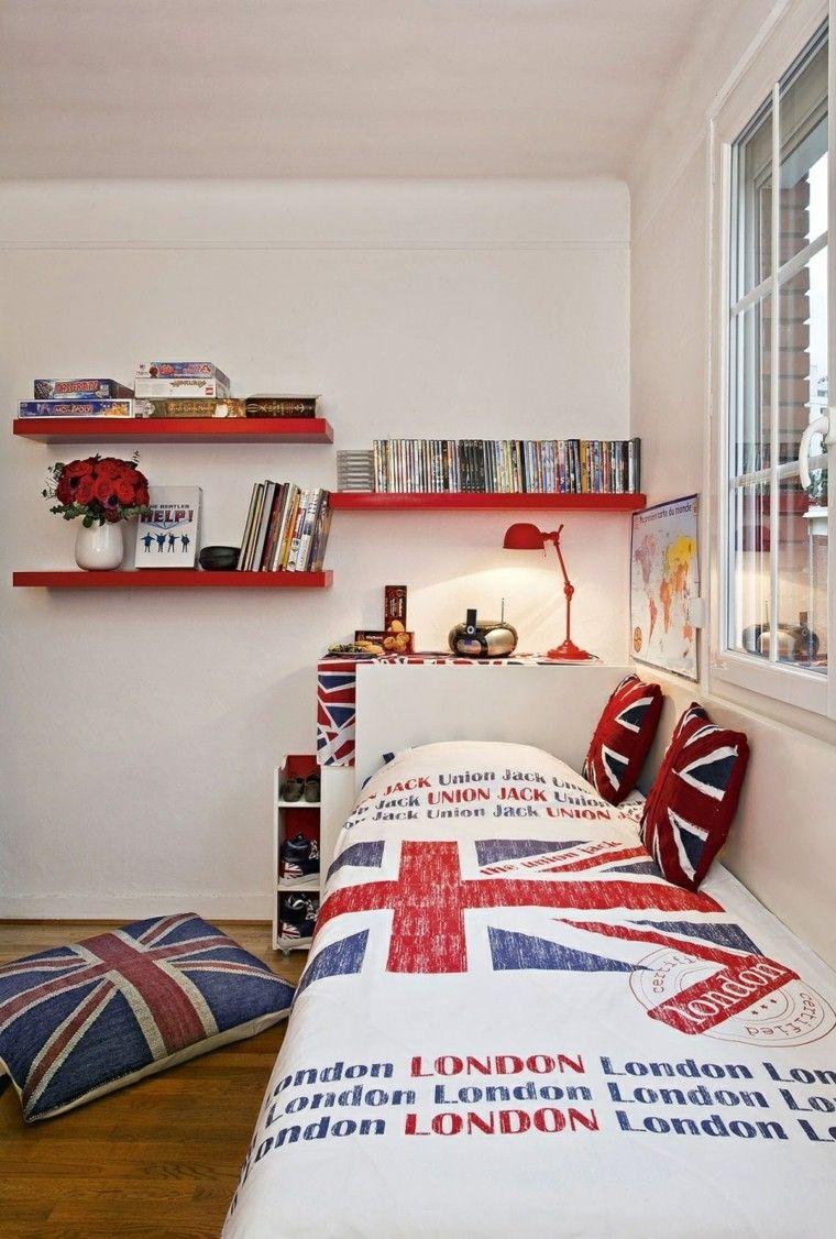 Estantes rojos en el dormitorio del chico adolescente - Decoracion dormitorio juvenil chico ...