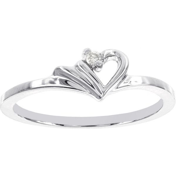 Diamond Accent 14K White Gold Heart Promise Ring 1 080 CAD