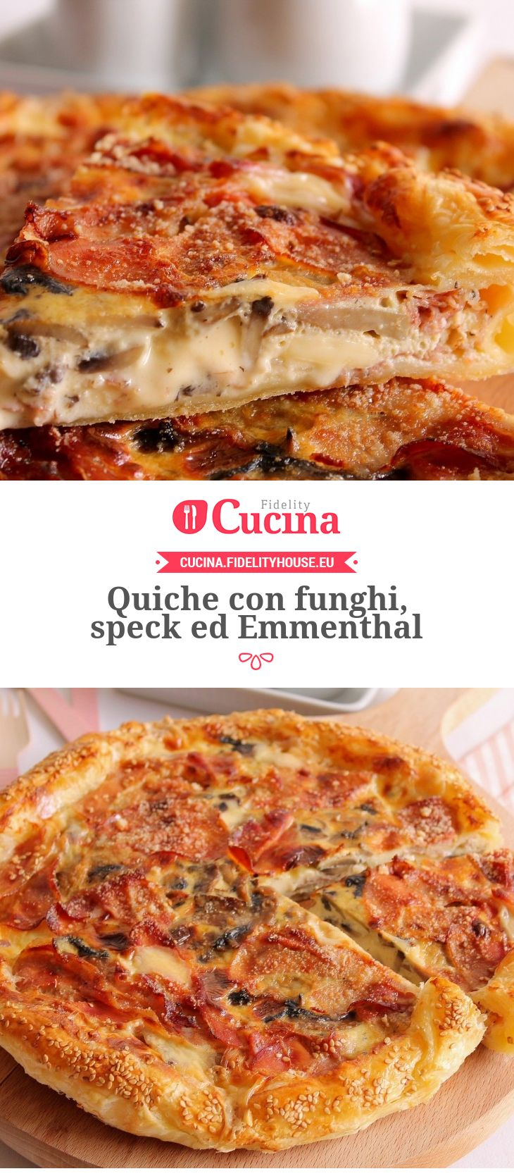 Photo of Quiche with mushrooms, speck and Emmenthal