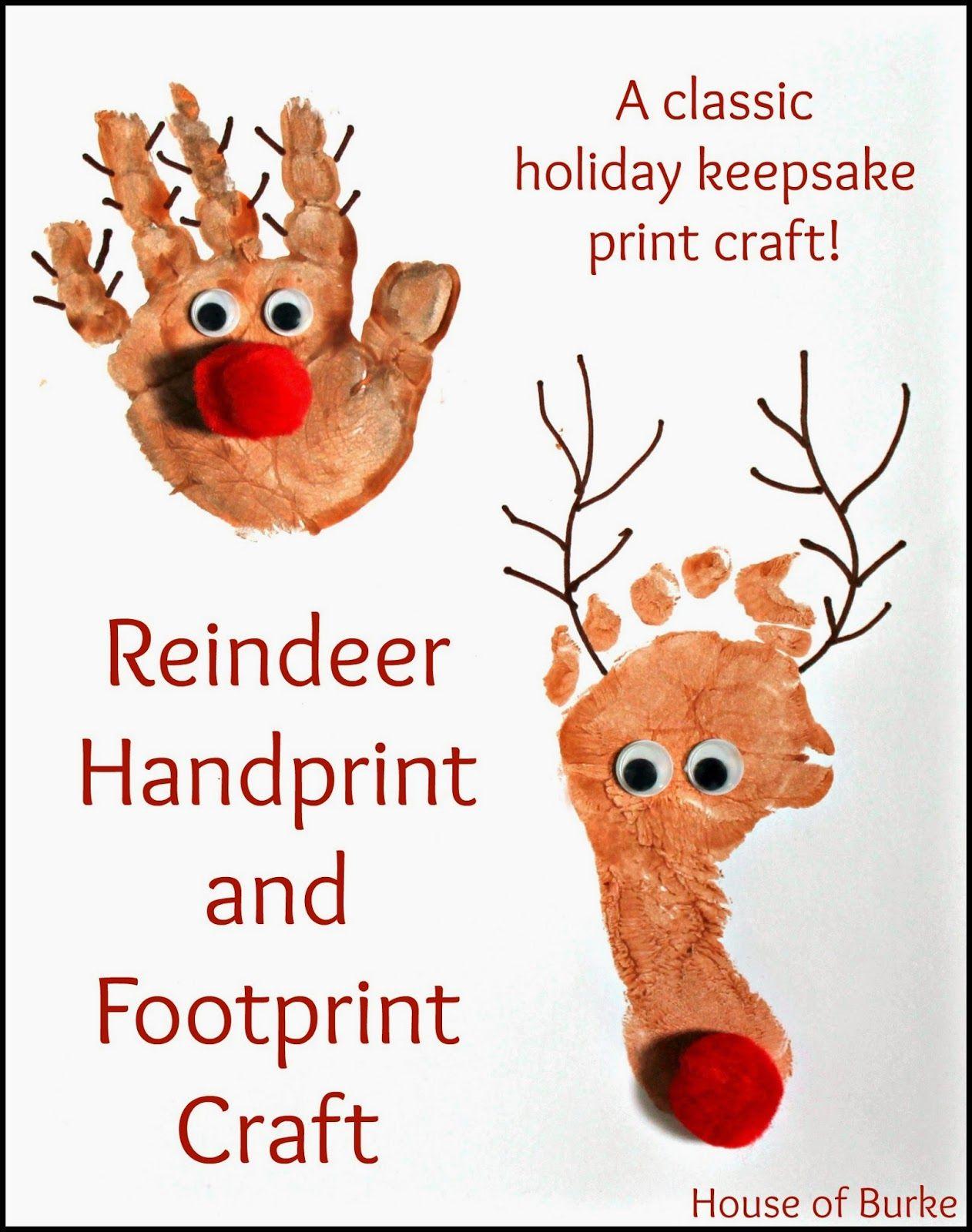Reindeer Handprint and Footprint Craft Reindeer