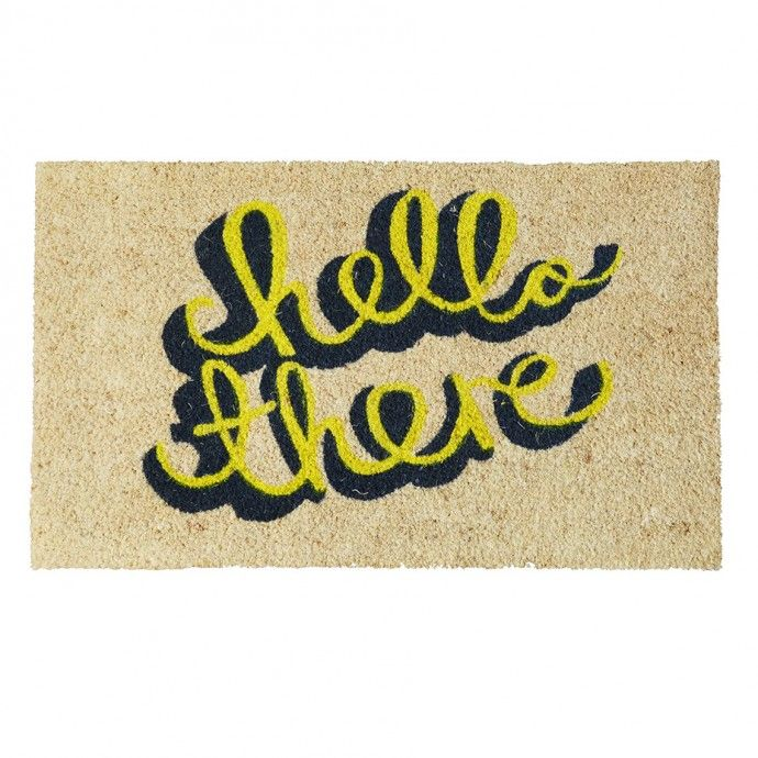 Best Hello There Door Mat Yellow Grey Grey Door Mats Doors 400 x 300