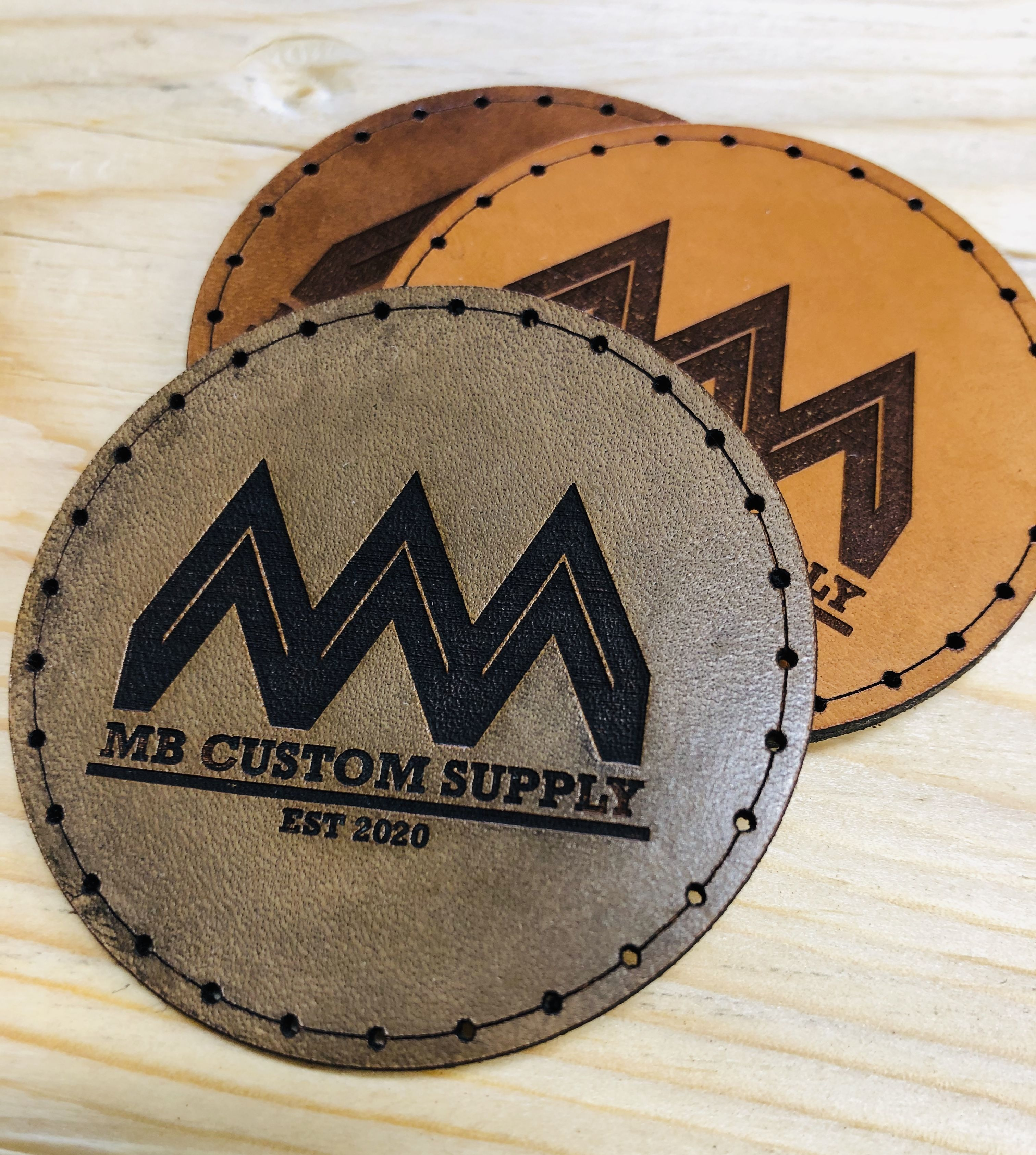 Customized 2 round leather patches available in 3 colours