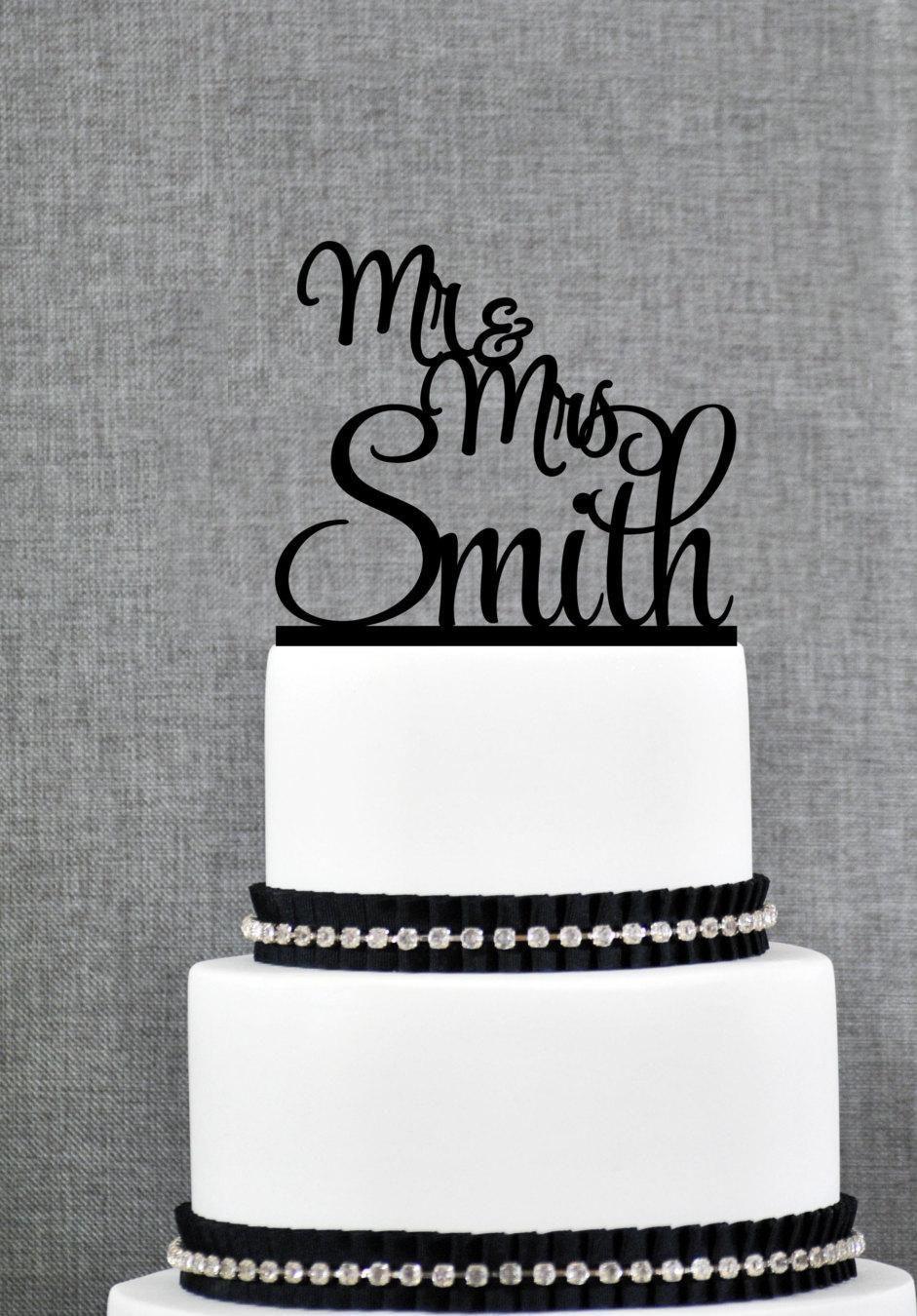 Script mr and mrs last name wedding cake topper personalized script