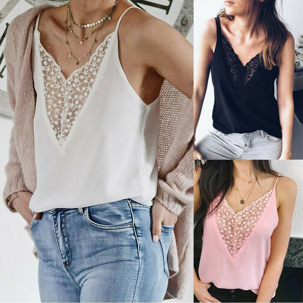 New Women Camis Lace Patchwork Tank Top Sleeveless Shirt Casual Blouse Vests