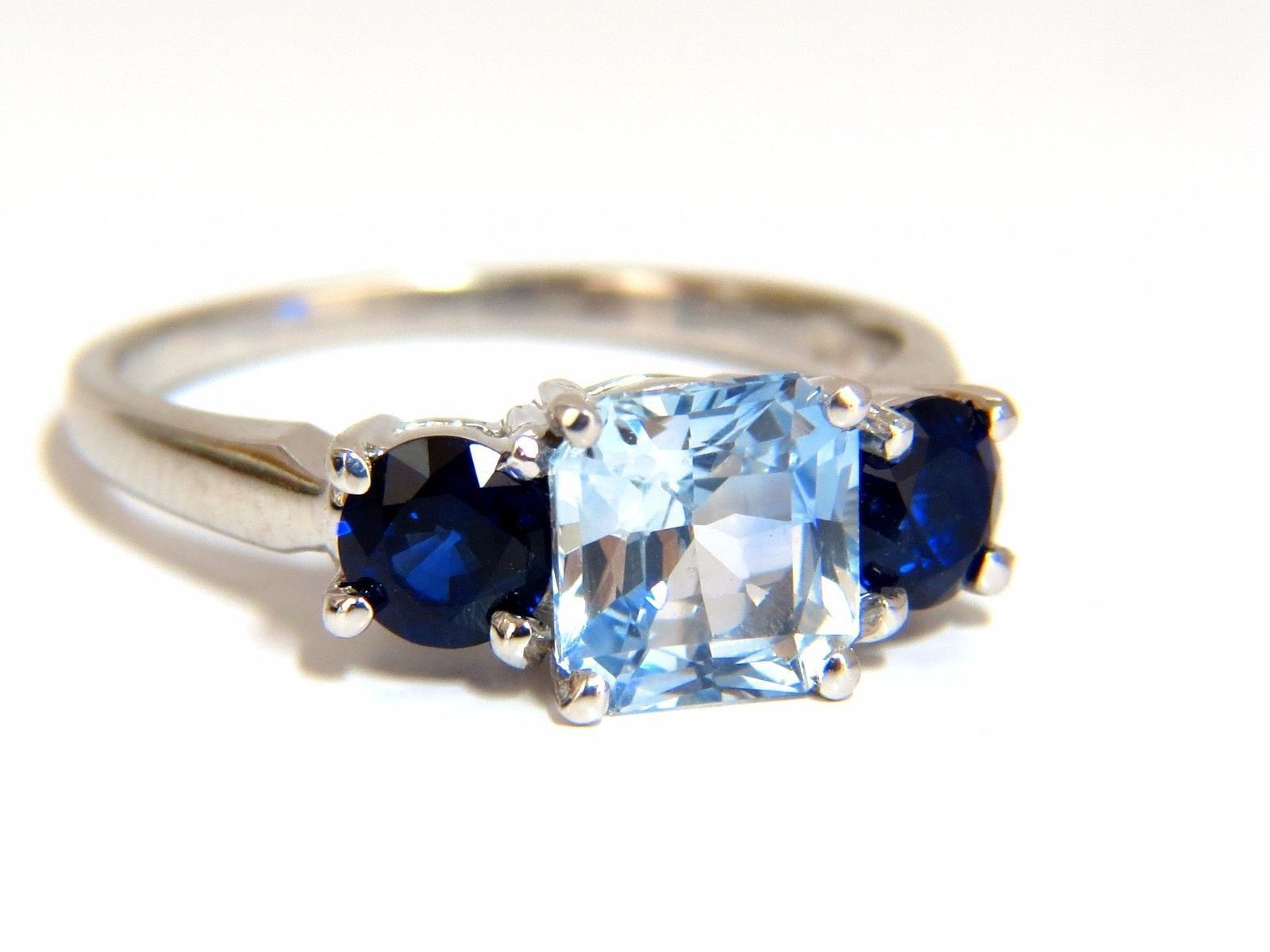 blue cushion gold diamond cut light pin sapphire in white ring
