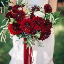 Czerwone I Bordowe Dalie Bukiet Slubny Red Wedding Flowers Bridal Bouquet Fall Dahlias Wedding