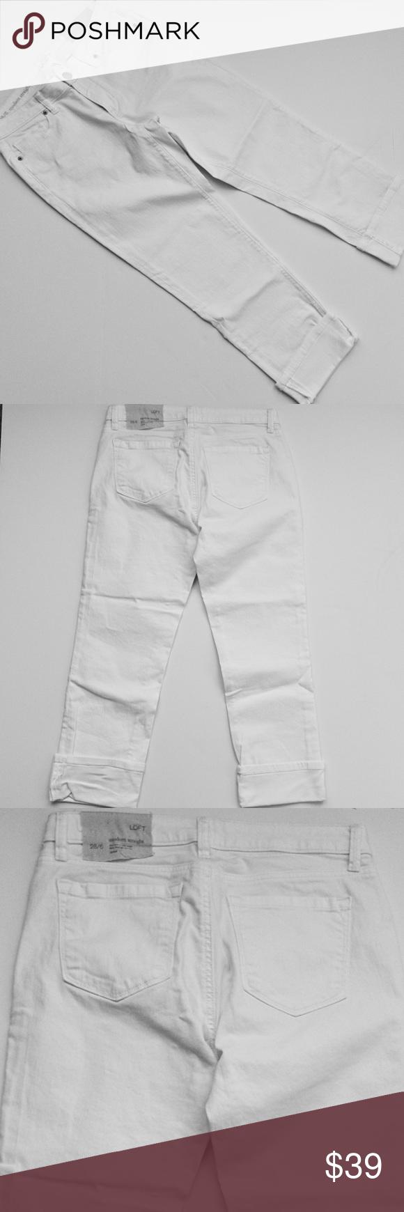 "ANN TAYLOR LOFT white modern straight denim NWT! Modern straight leg stretch denim. Sits low on the waist, slim through the hip. Fabric: cotton/spandex. Inseam: 24"" LOFT Jeans Ankle & Cropped"