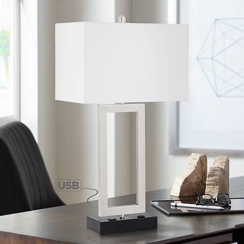 Todd Brushed Nickel Table Lamp With Usb Port And Outlet 19n09 Lamps Plus Nickel Table Lamps Modern Table Lamp Table Lamp
