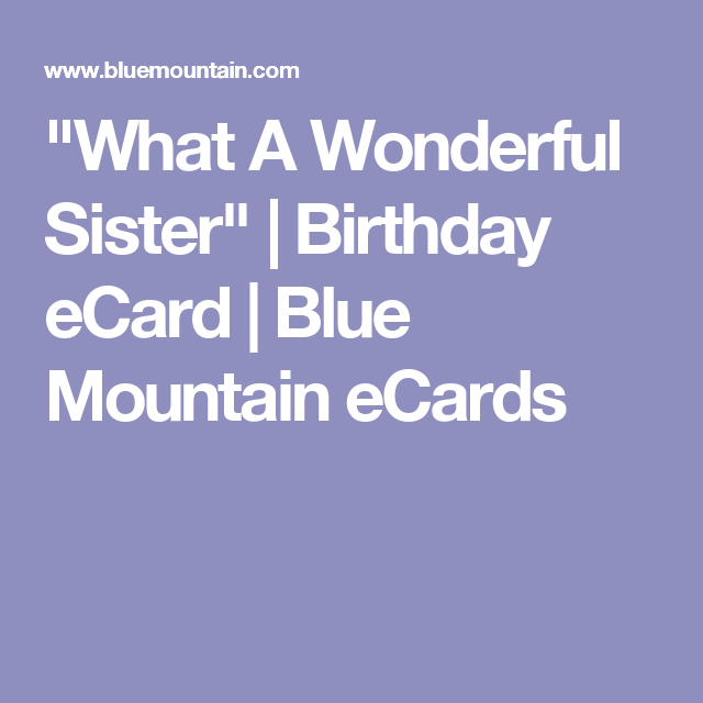 """What A Wonderful Sister"" 