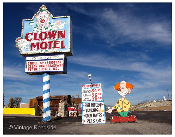 The Amazing Clown Motel In Tonopah Nevada And Yes We Did Stay There Our Fine Art Prints Motel Road Trip Unique Hotels