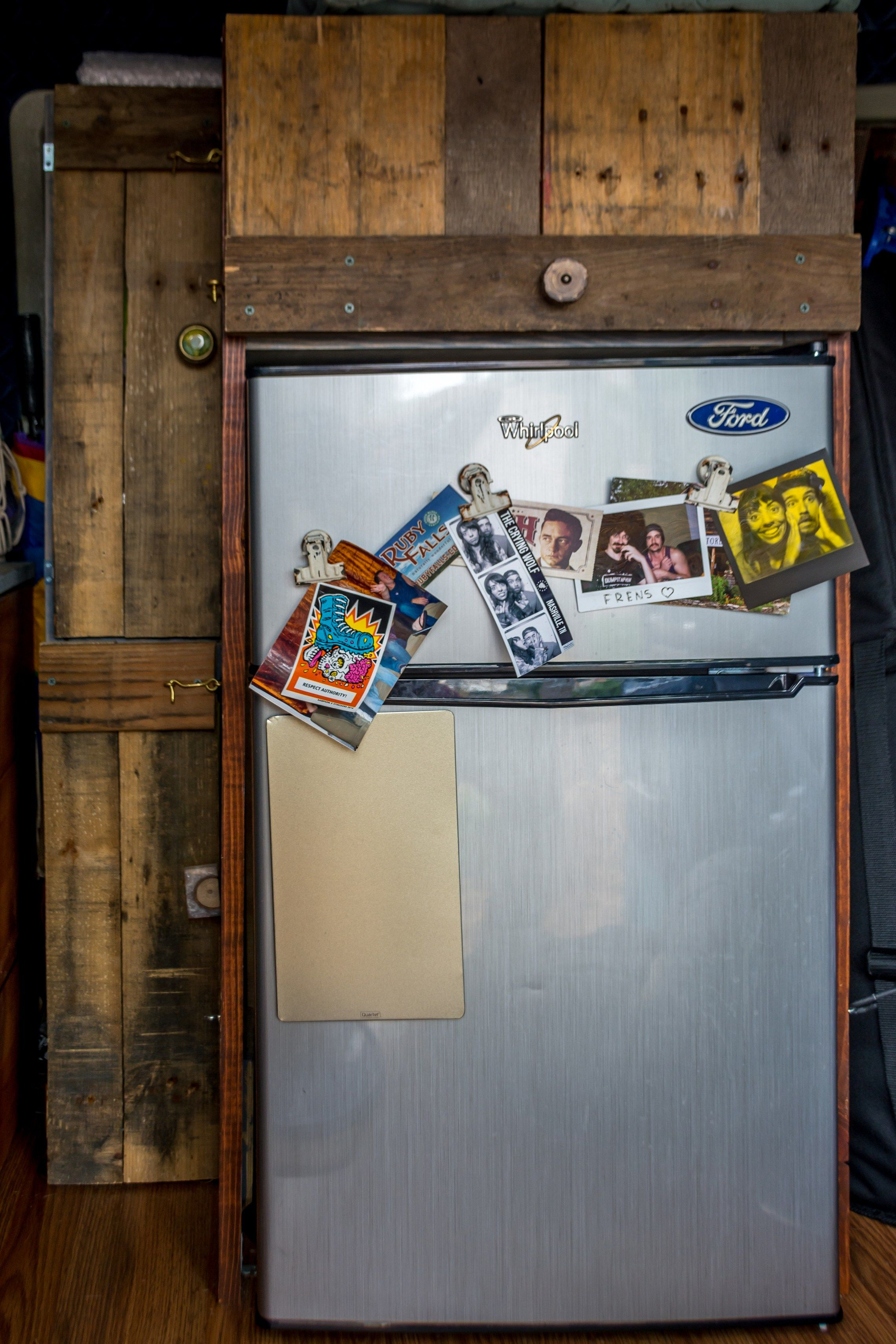 DIY pallet wood pantry with whirlpool refrigerator Diy