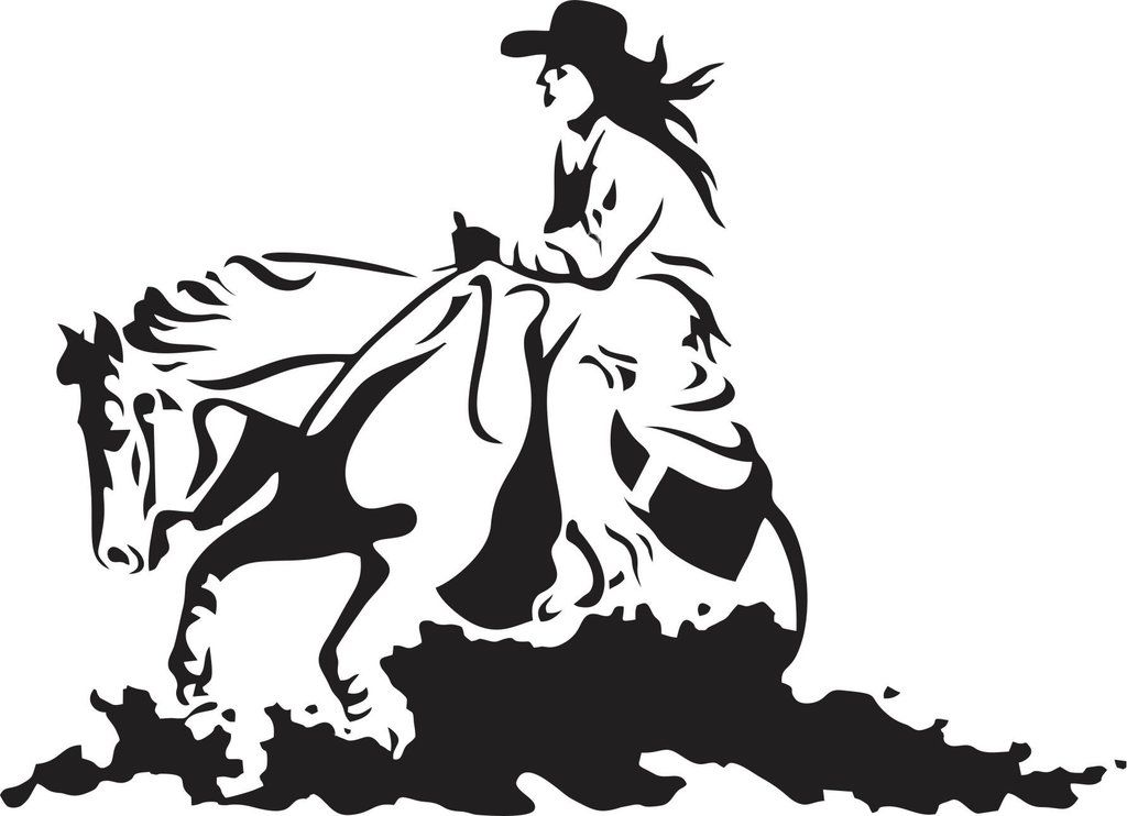 Cowgirl Ride Rodeo Vinyl Decal Horse Reining Horse Silhouette Horse Stencil