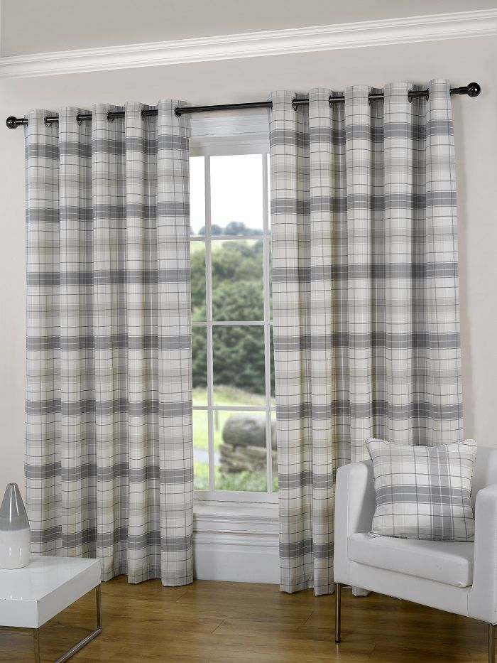 modern curtains for living room uk showroom natural checked fast delivery