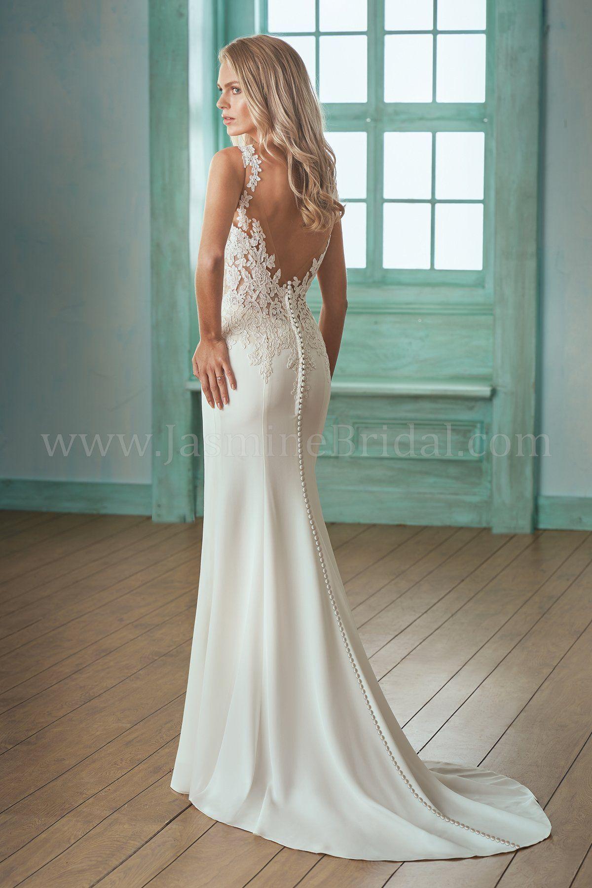 Jasmine wedding dresses  F Illusion Neckline Lace u Crepe Wedding Dress  Wedding