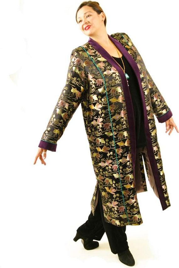 4713abf33a Plus Size Wedding Guest Pant Suit Lined 3 4 Length Formal Coat Black Gold  Green Rose Koi Silk Jacqua