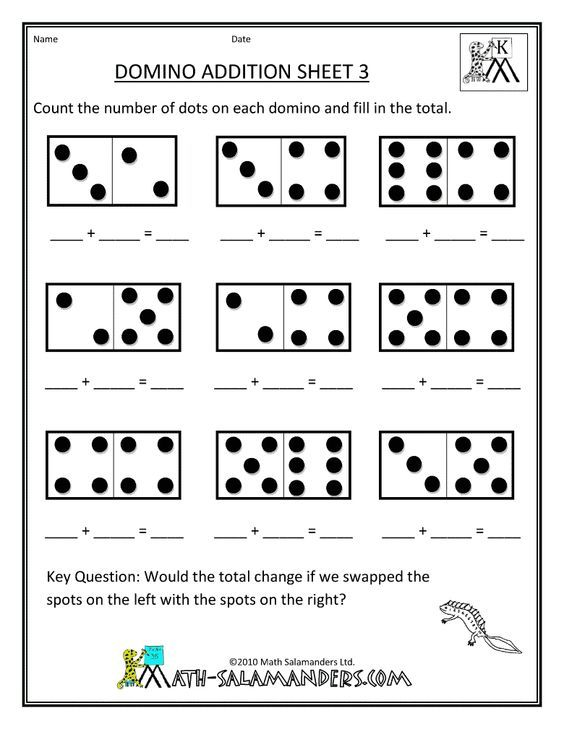Printable Kindergarten Worksheets  Printable Kindergarten Math Worksheets Domino Addition 3