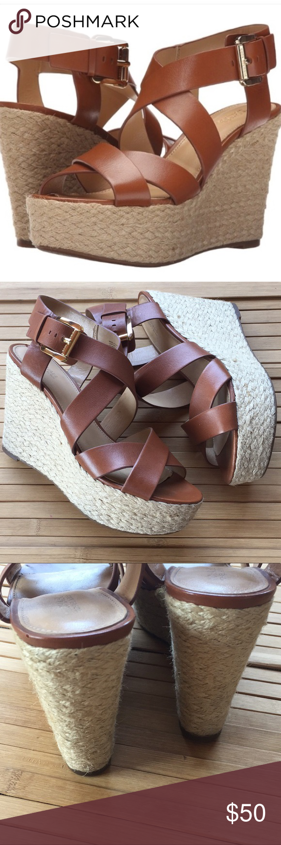 a4d44da114f Michael Kors Celia Wedge peep toe 8 M MICHAEL Kors Women s Celia peep toe  wedge sandals Espadrilles Sz 8M Leather upper