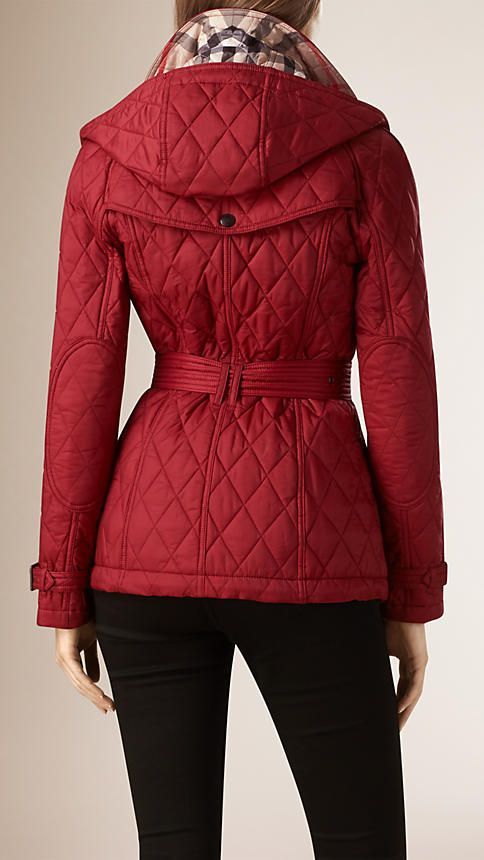 Quilted Trench Jacket with Detachable Hood in Dark Crimson - Women ... : burberry quilted trench - Adamdwight.com