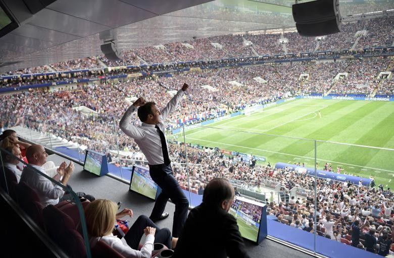 French President Emmanuel Macron reacts during the World Cup final between France and Croatia, July 15. Sputnik/Alexei Nikolsky/Kremlin via REUTERS
