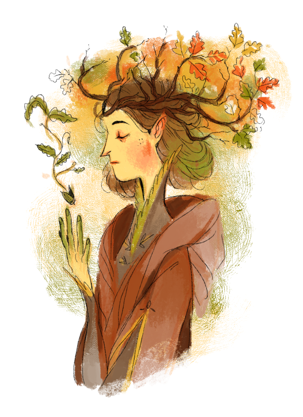 Yavanna sketch for the sidebar of a sideblog I'll probs never use but whatever