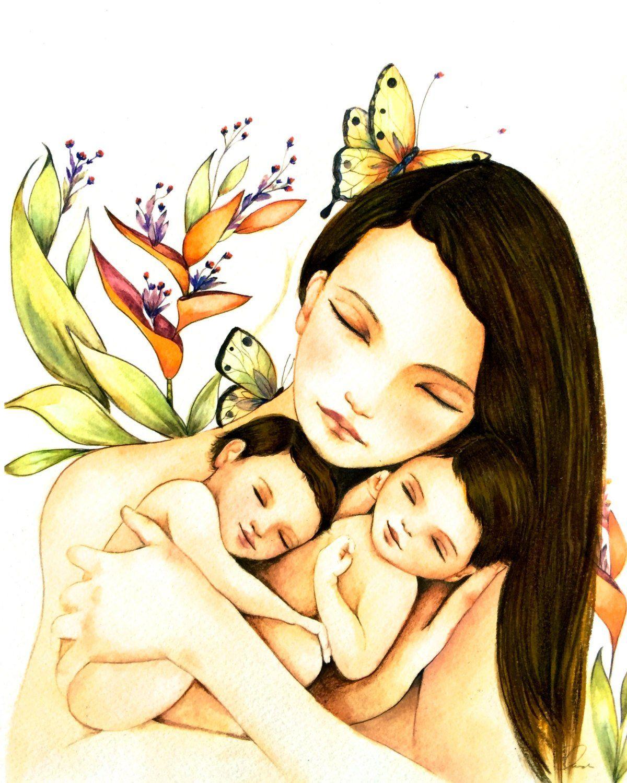 Картинки мама с двойняшками нарисованные