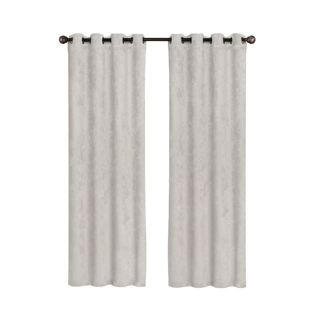 Bella Luna Faux Suede Extra Wide 96 In L Room Darkening Grommet Curtain Panel Pair In Light Grey Set Of 2 Light Gray Bella Luna