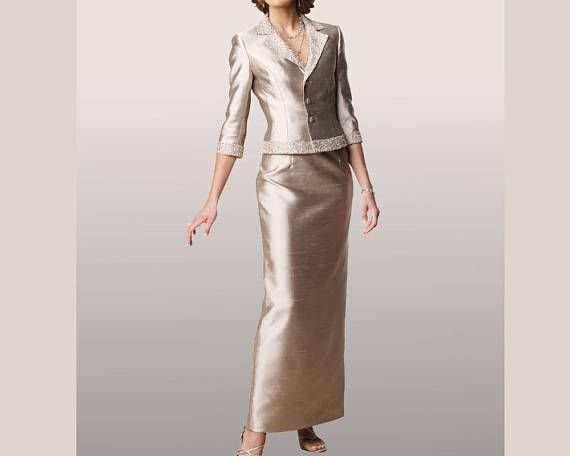 ba965f8b11a3e Robe maman de la mariée soie sauvage beige robe de cérémonie sur mesure