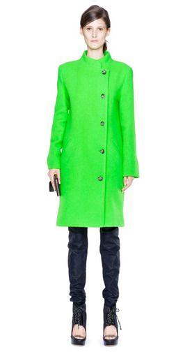 Bright green peacoat