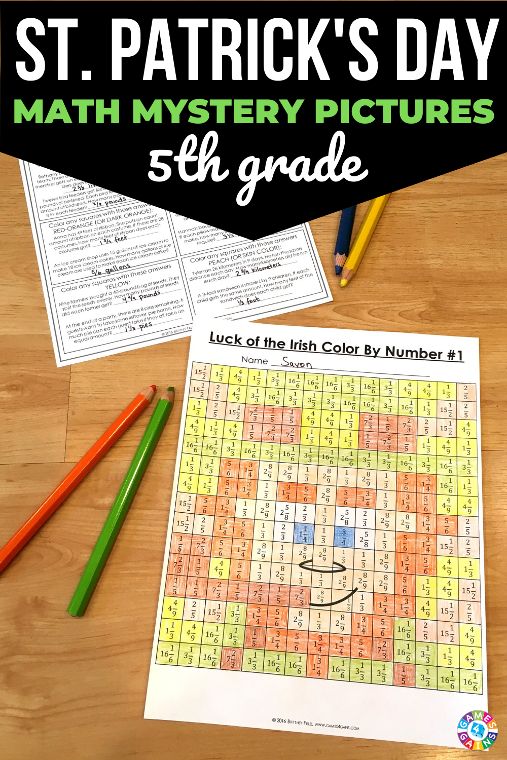 5th Grade St Patrick S Day Math Color By Number Activities Elementary Math Centers Math Coloring Math [ 1500 x 1000 Pixel ]
