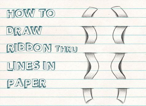 Today Iu0027ll show you how to draw a ribbon that is woven through the - lines paper