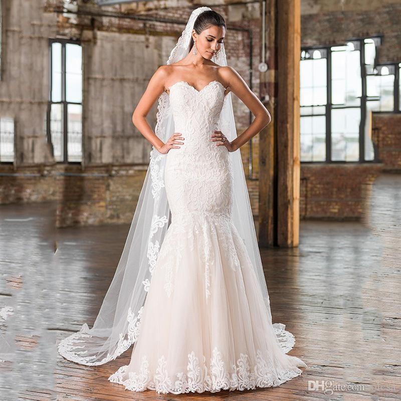 2016 Plus Size Mermaid Wedding Dress Sweetheart Neckline