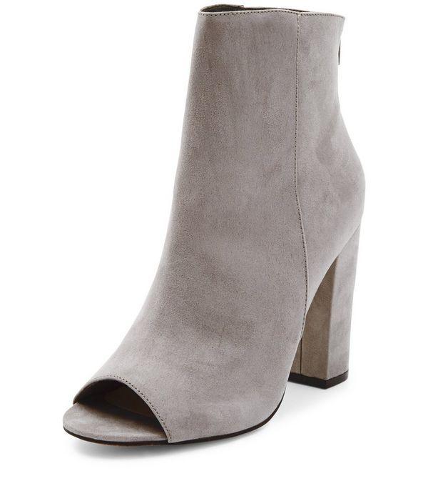 grey open toe block heels