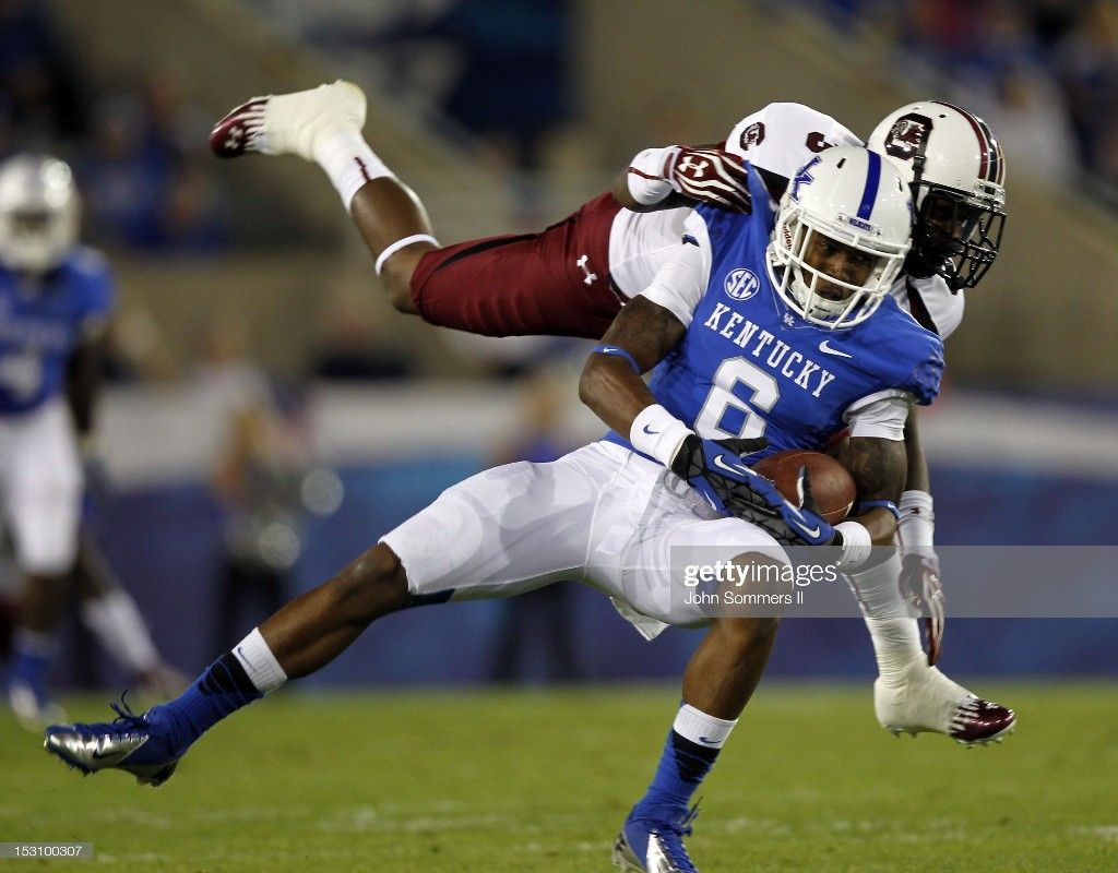6 A J Legree Of The Kentucky Wildcats Makes The Catch Under