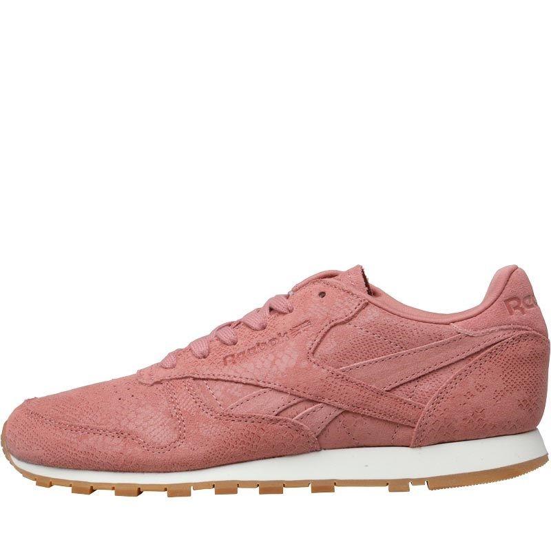 8317b8ff0cf4 Reebok Classics Womens Classic Leather Clean Exotics Trainers Sandy  Rose Chalk Gum