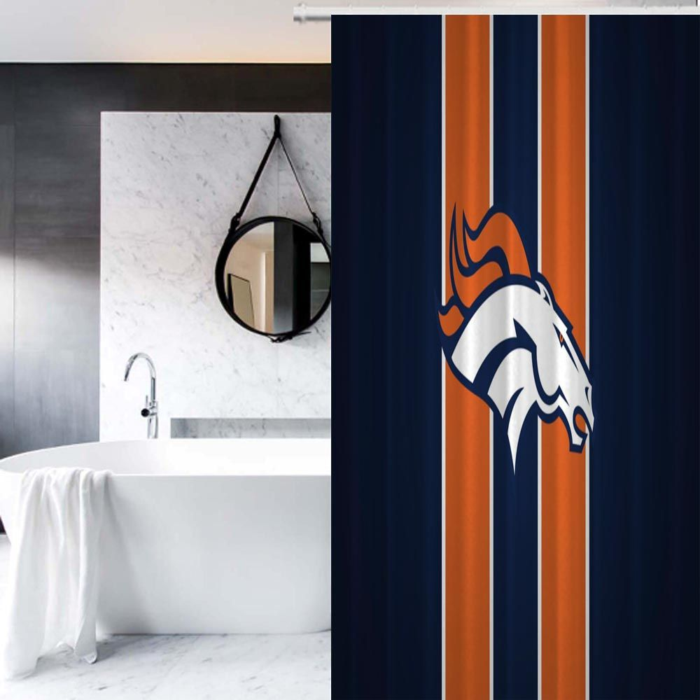 NFL Denver Broncos Football Custom Design Print On Waterproof Shower Curtain Homeideas Vintageblinds Floral Motifs 2018