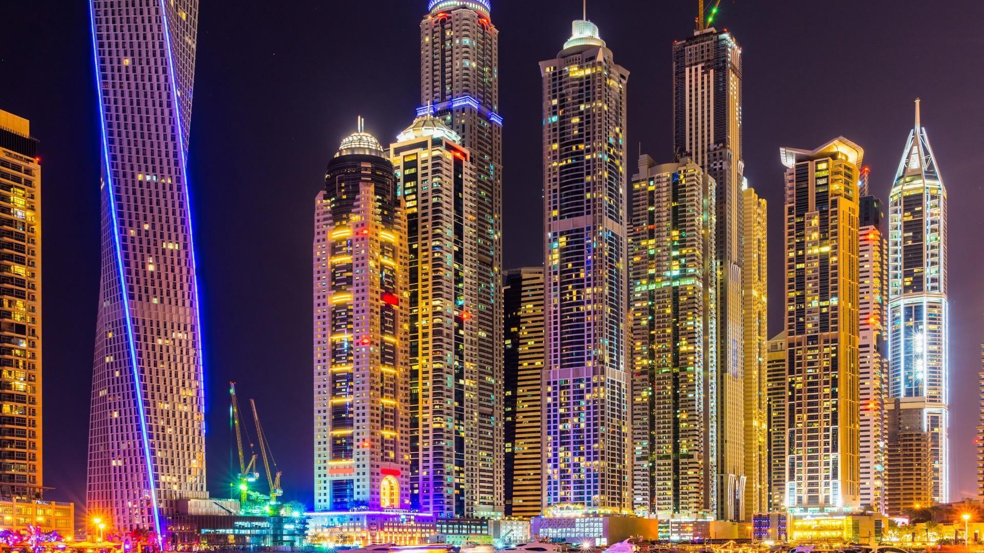Fond D Ecran Dubai Ville Gratte Ciel Batiments Nuit Lumieres Colore Brillant Urbain Paysages Hd Ecran Large Haut Paysage Hd Gratte Ciel Paysage Urbain